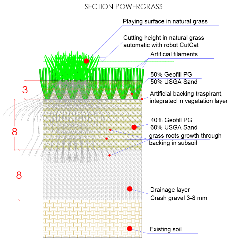 Cross section PowerGrass